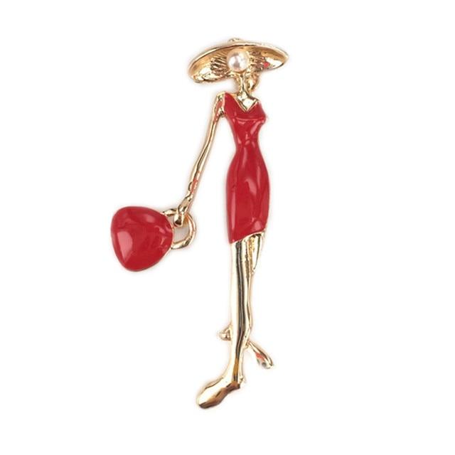 19ae0f6fd185 Bovvsky pretty girl bolsa broches pin up de la joyería para las mujeres  traje sombreros clips