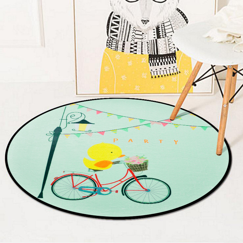 Cartoon Riding Duck Kids Play Game Round Carpet Rugs Crawling Blanket Floor Mats For Living Room Decoration Baby Gifts Tapete
