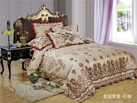 2017 Luxury Embroidery Satin Silk cotton Jacquard Bedding Sets golden pink bedsheet Queen King size 4pcs Christmas gift