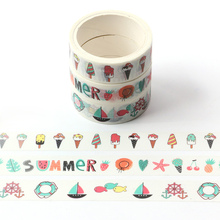 3pcs/pack Summer Japanese Washi Tape summe, sea, ice cream washi tape Masking Adhesive Decor Stationery
