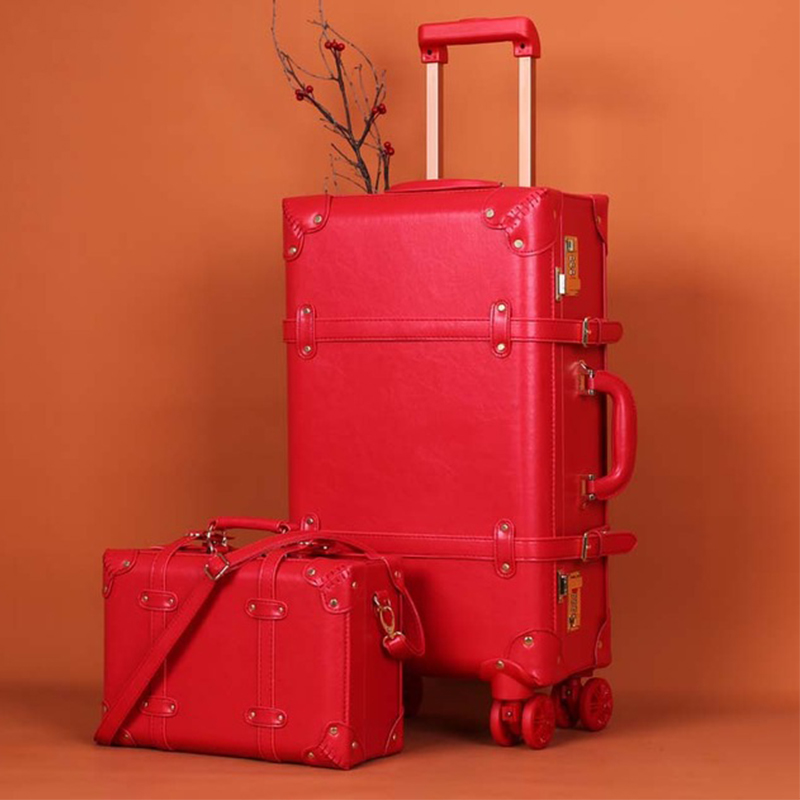 f430842cf5fa Retro suitcase set red trolley case female cosmetic case luggage universal  wheel dowry box bride luggage wedding travel luggage