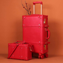 Retro suitcase set red trolley case female cosmetic case luggage universal wheel dowry box bride luggage wedding  travel luggage letrend korean trolley cute pink suitcase wheels cosmetic case women vintage leather travel bag retro password box cabin luggage
