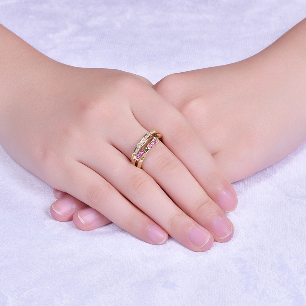 Fashion Bowknot Women Plated rose gold Jewelry Wedding Bands Finger ...