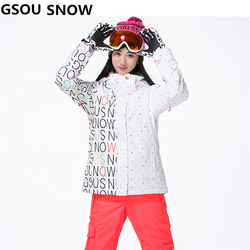 Gsou Snow Women Ski Jacket Outdoor Winter Ski Suit For Women Waterproof 10000 Windproof Snowboard Coat free shipping the new 2017 gsou snow ski suit man windproof and waterproof breathable double plate warm winter ski clothes