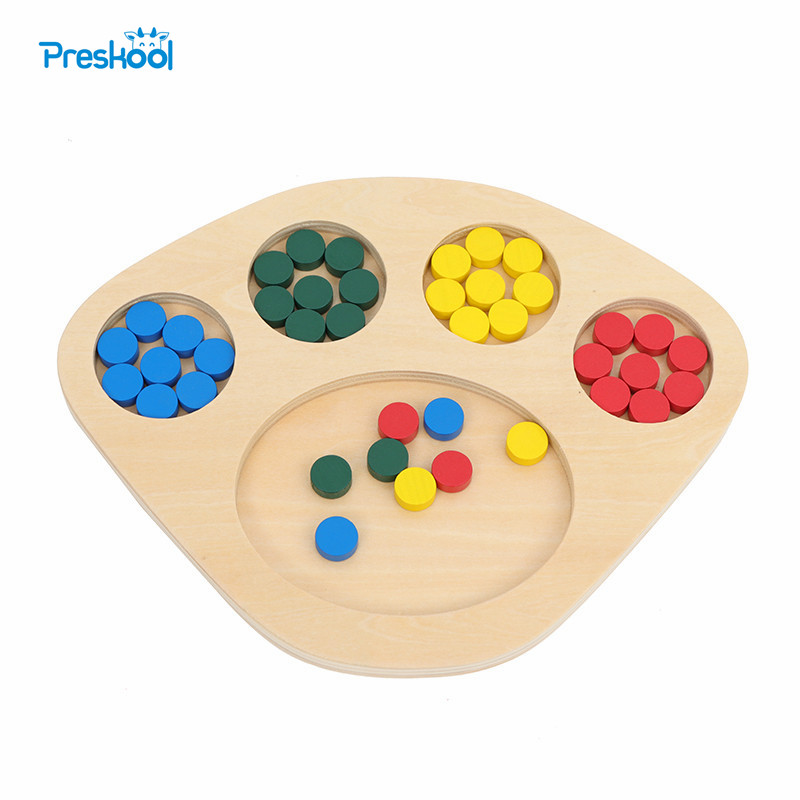 Preskool Montessori Wooden Baby Toy for Children Color Sorting Game Educational Brinquedos Juguets