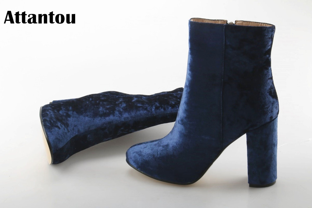 2018 Hauts Color Femininos As À Showed Hiver Neige Automne Marque Botas Attantou Chunky Talons Bottes Cheville Mode Femmes Chaussures qtU1gt