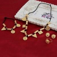 Commercio all'ingrosso Eritrea Habesha Etiope insieme Dei Monili Del Braccialetto Della Collana Dell'anello 14 k Solid Gold GF Africa Da Sposa