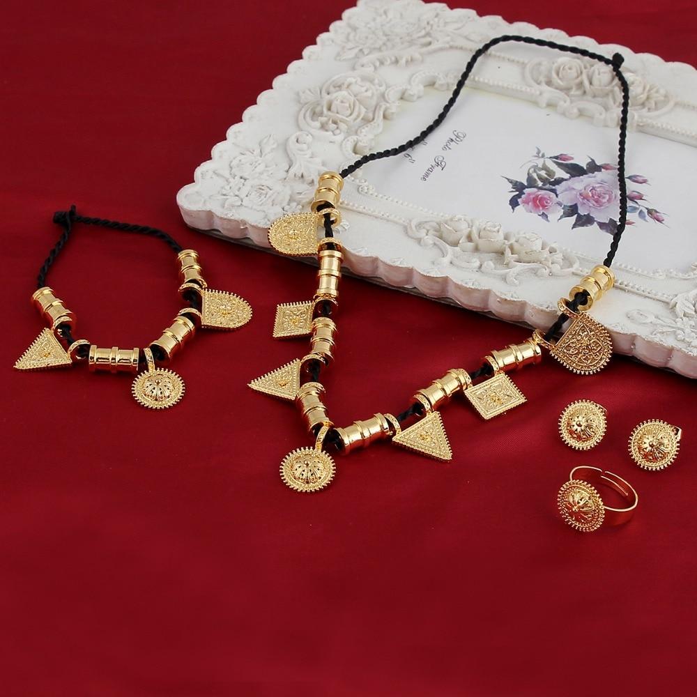 Wholesale Eritrea Habesha Ethiopian Set Jewelry Necklacecelet Earring Ring 14 K Solid Gold Gf Africa Wedding