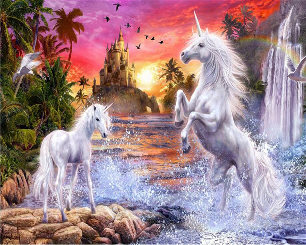 Beibehang Custom wallpaper red sky castle stream waterfall rainbow white horse children room background wall mural 3d wallpaper under a blood red sky