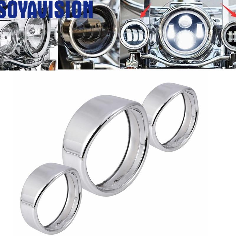 7inch black/Chrome Headlight Headlamp Trim Ring 4.5 inch Fog Light Trim Ring For Harley Touring Road King Electra Glide harley davidson headlight price