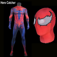 Hero Catcher Top Quality 3D Print Toxin Spiderman Cosplay Costume Comic Red Toxin Costume New Spandex