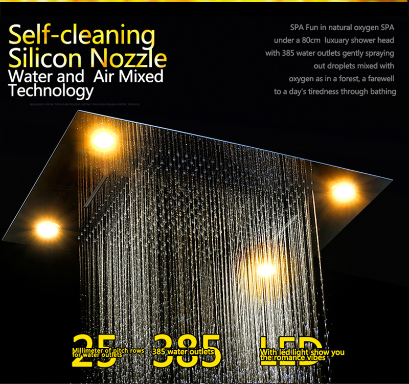 Bathroom Fixture Shower Faucets Ceiling Mounted Waterfall Mist Shower Head Big Rain LED Shower Set High Flow Thermostatic Bath (8)