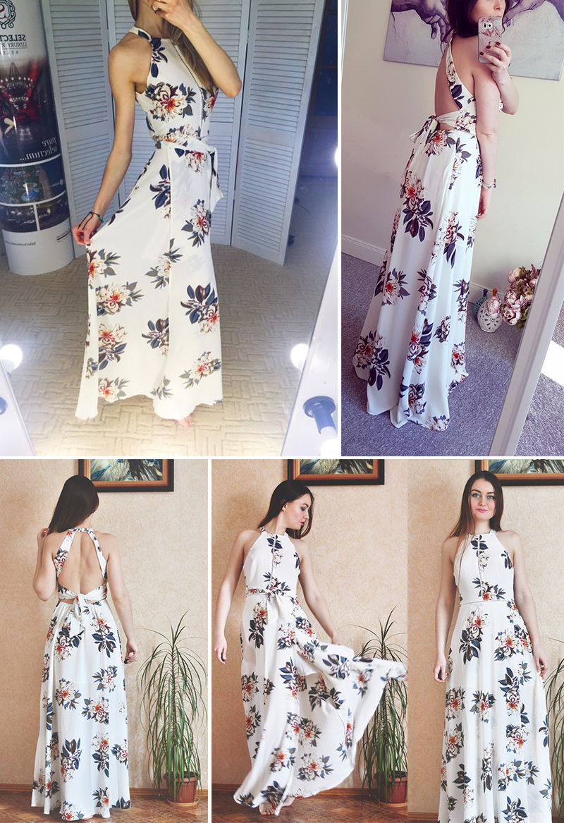 HTB1wwmeXcPEK1JjSZFEq6yA3XXaK - Women White Split Floral Summer Dress JKP076