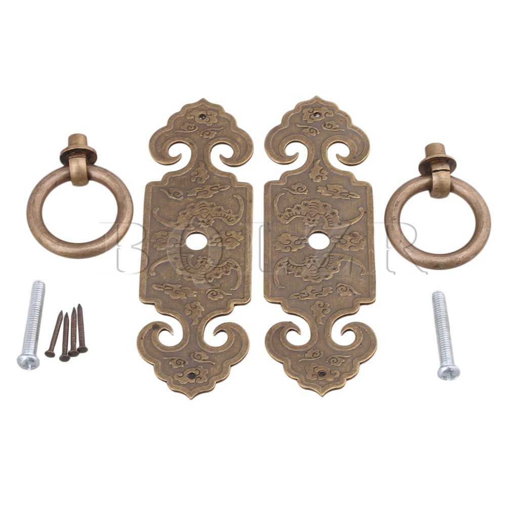 2PCS BQLZR 10 x 3.2cm Antique Vintage DIY Furniture Decorative Brass Bronze Straight Pull Handle for Cupboard e cap aluminum 16v 22 2200uf electrolytic capacitors pack for diy project white 9 x 10 pcs