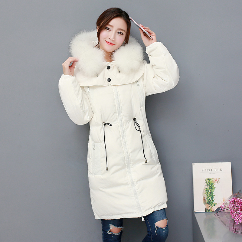 2017 New Fashion Winter Parkas Hooded Big Real Fur Collar Jacket Long Warm Thicken Coat Removable Hat Female Outwears 2015 hot new winter thicken warm woman down jacket coat parkas outerwear hooded fox fur collar luxury long brand plus size 2xxl