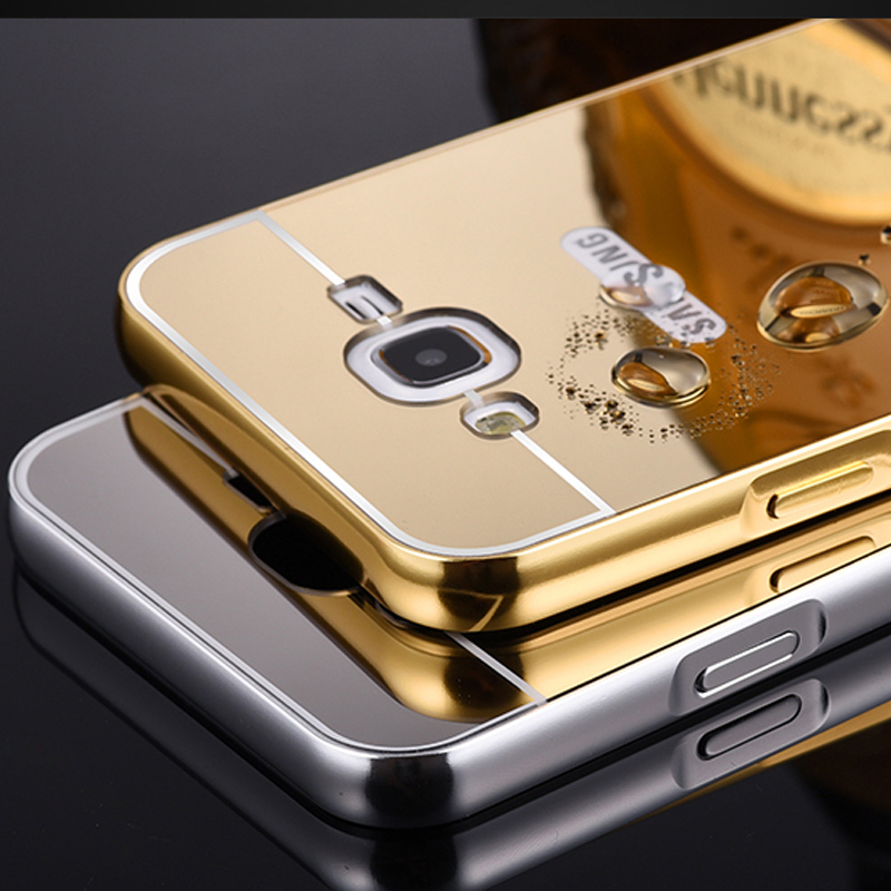 For Samsung J1 2016 Mirror Acrylic+Aluminum Case For Samsung Galaxy J1 J1 Mini J2 J3 J5 J7 2016 Luxury Metal Coque Back Cover ...