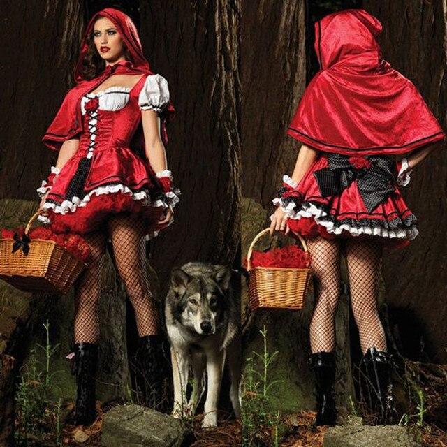 Little Red Riding Hood Adult Fancy Cosplay Dress Halloween Carnival Women Costume