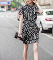 New European Style Stylish Dresses Summer Short Sleeve Lapel Dress Office Career OL Dress Casual Slim Evening Party Dress ED59