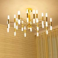 Modern reading room Gold led light luminaria for kitchen dining room Bar golden suspension G9 Led lamp study Ceiling Chandeliers