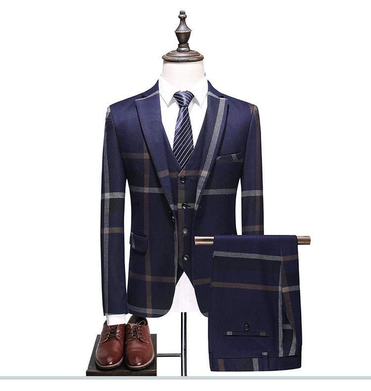 Sensfun Terno Tuxedo Man Suit Blazers Jacket Pant Vest Three Pieces Casual Business Formal Costume Homme Mariage With Striped