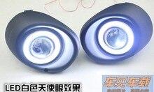 LED DRL tagfahrlicht COB angel eye + halogen nebelscheinwerfer + projektor objektiv + rahmen für mitsubishi outlander 2013-15