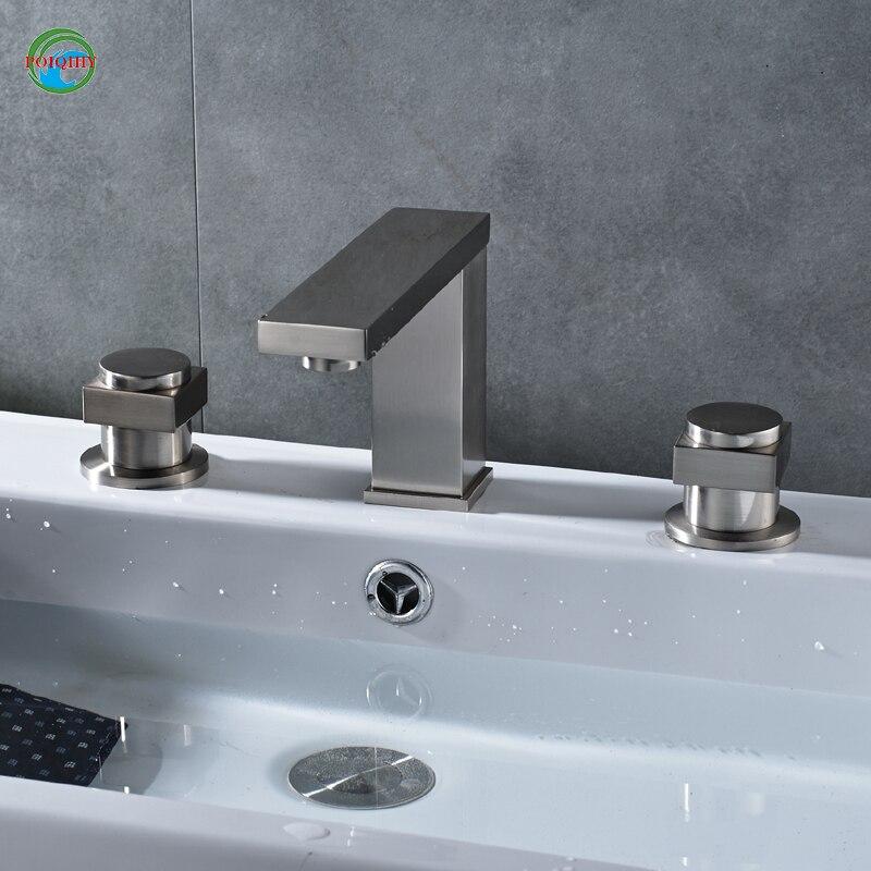 luxury brushed  brass bathroom Faucet Double holder three-hole bathroom accessories luxury bathroom