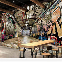 Beibehang Custom Wallpaper 3d Photo Murals Three Dimensional Space Street Graffiti Bar KTV Background Wallpaper For
