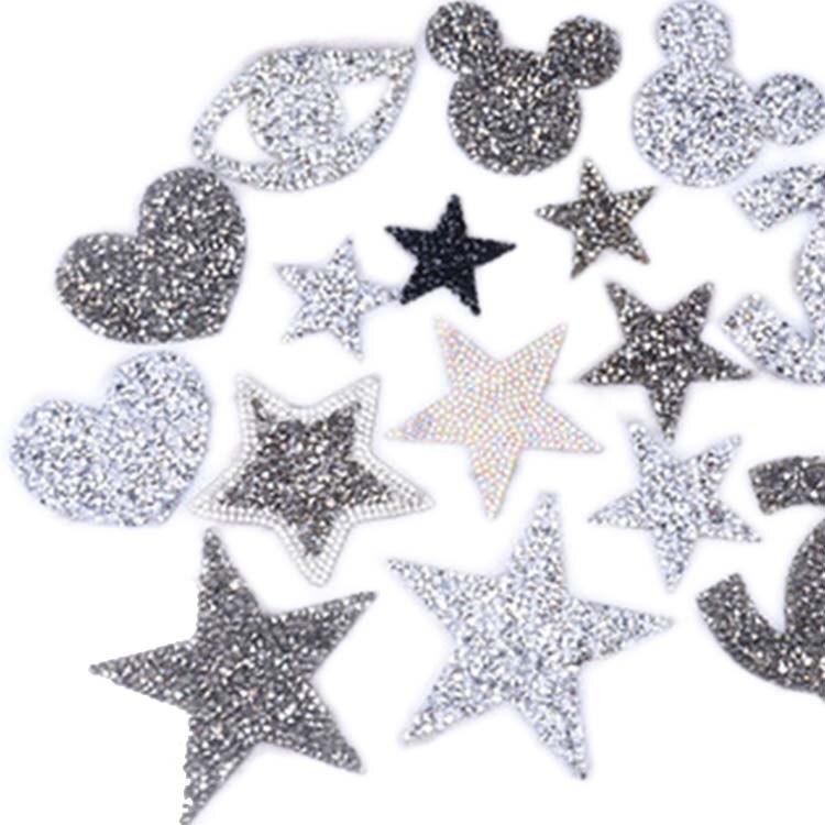 Gym RED TRIPLE 3 STARS Iron On Hotfix Rhinestone Diamante Transfer Motif Dance
