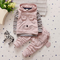 2016 new Autumn baby boys/girls set fashion striped cartoon three-piece set(T-shirt+vest+pants) children clothing set