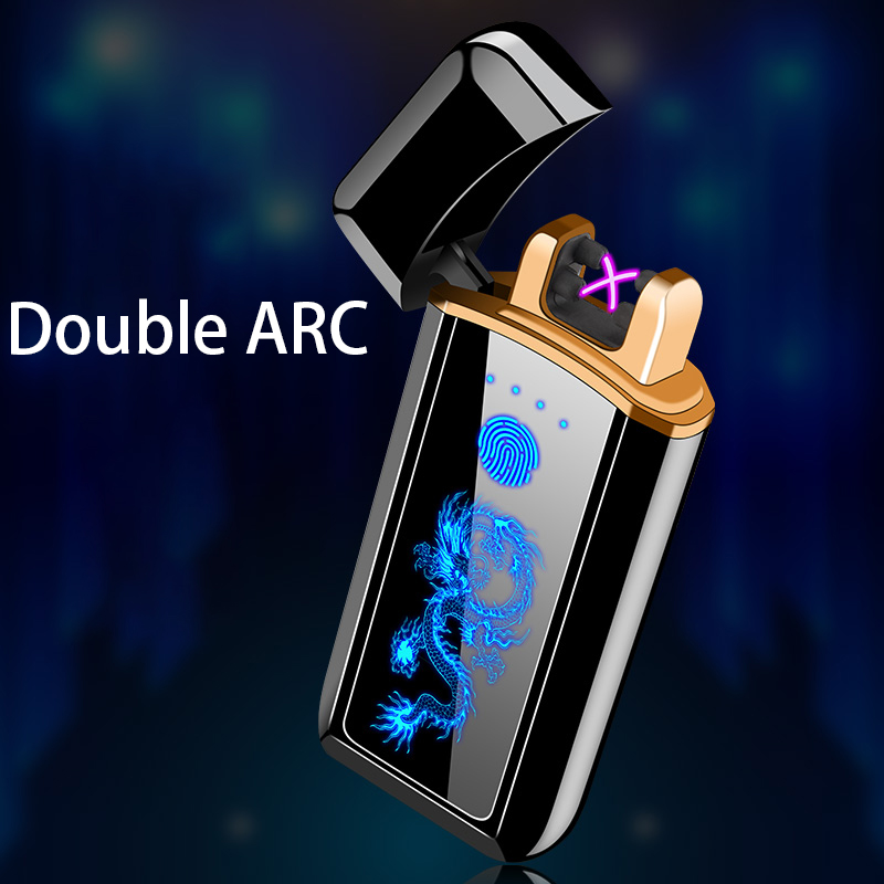 Plasma encendedor electrónico encendedor de cigarrillo para fumar carga Usb doble arco