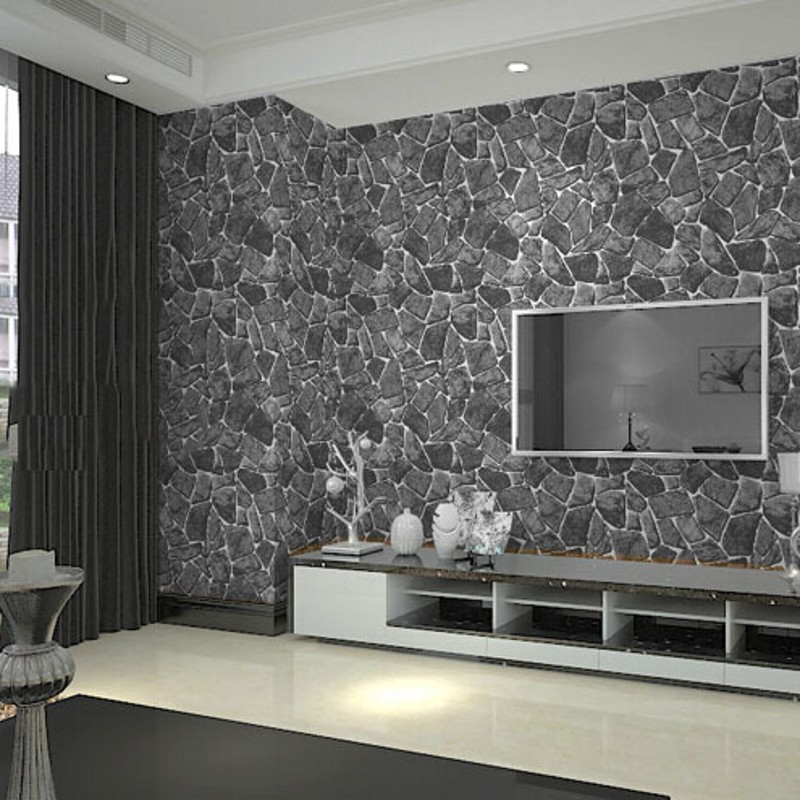 beibehang papel de parede 3d wall panel Grey Brick Wall Stone Creek ...
