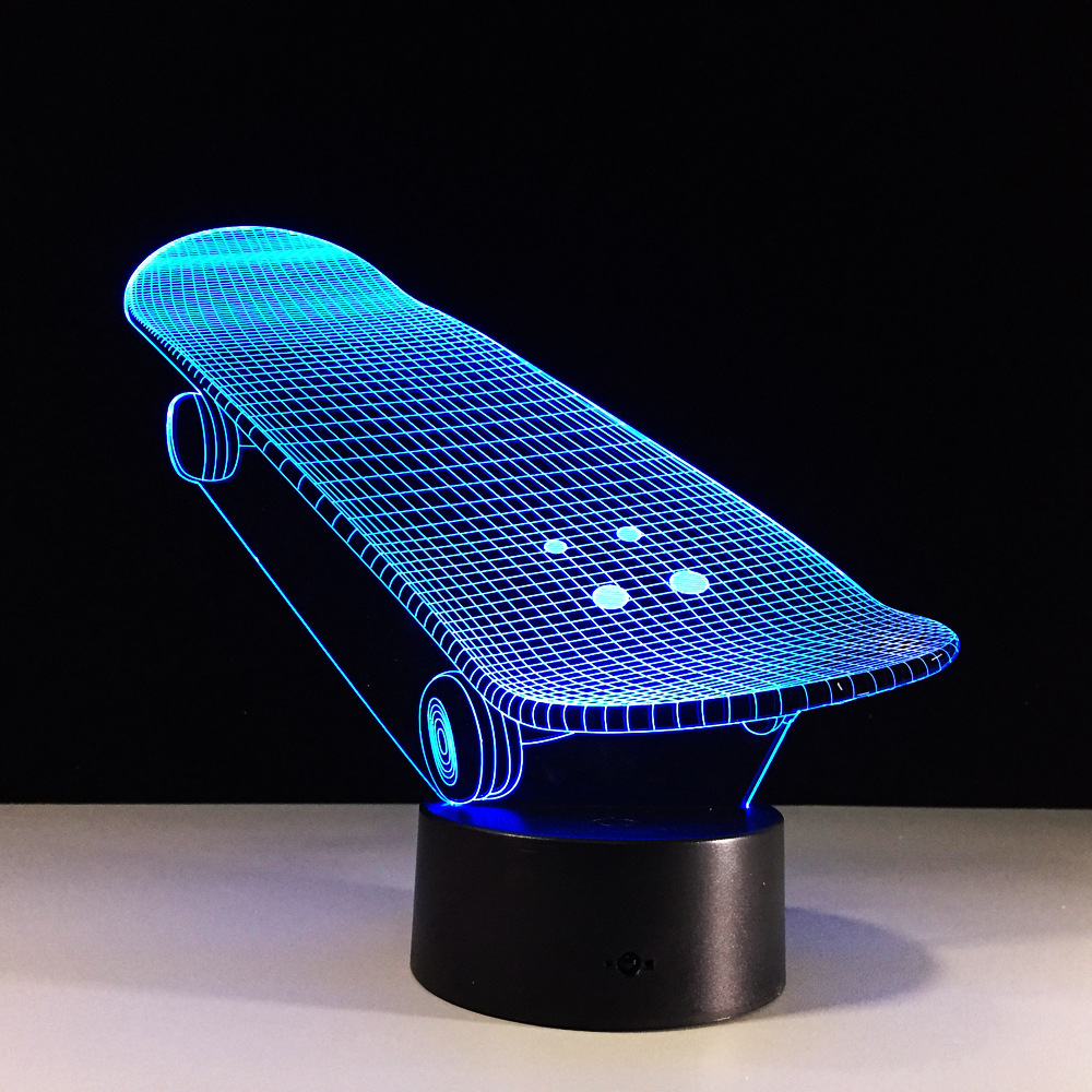 2d Acryl Skate Bord 3d Lampe Roller Luminaria Wohnzimmer Decor Sport Geschenke 7 Farben Ändern Lamparas De Mesa 100% Garantie