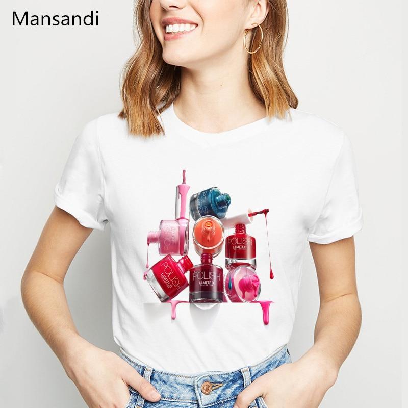 Novelty Design Nail Polish Tshirt Women Korean Style Clothes 2019 Vogue White T Shirt Camiseta Mujer Cute Casual Girl Tee Shirt