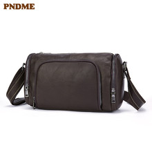 PNDME retro simple soft genuine leather mens messenger bags casual handmade cowhide daily with wide shoulder strap bag