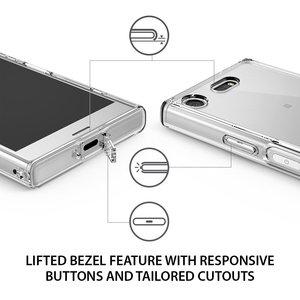 Image 3 - Ringke Fusion מקרה עבור Sony Xperia XZ1 קומפקטי שקוף מחשב חזרה TPU פגוש מובנה אבק Plug Drop התנגדות היברידי מקרי