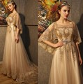 Luxury Gold Crystals Beading Sequins Long Arabic Evening Dresses Bride Banquet with Shawl Evening Prom Party Gown vestido longo