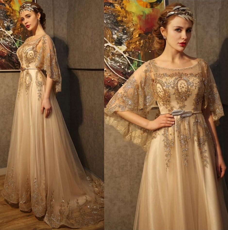 Luxury Gold Crystals Beading Sequins Long Arabic Evening Dresses Bride Banquet with Shawl Evening Prom Party Gown vestido longo(China (Mainland))