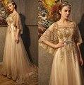 Oro de lujo Cristales Rebordear Lentejuelas de Noche Largo Árabe Vestidos de Novia Banquete con Mantón de Baile Vestido de Noche vestido longo