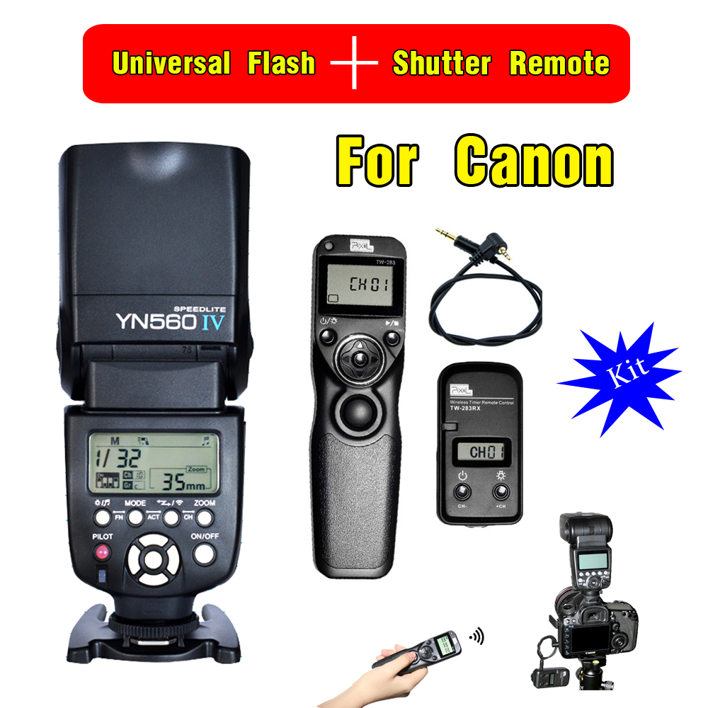 YONGNUO YN560 IV YN560IV Wireless Flash Speedlite & Pixel TW-283 E3 Timer Remote Control For Canon 70D 1200D 1100D 1000D 760D canon 1100d в одессе