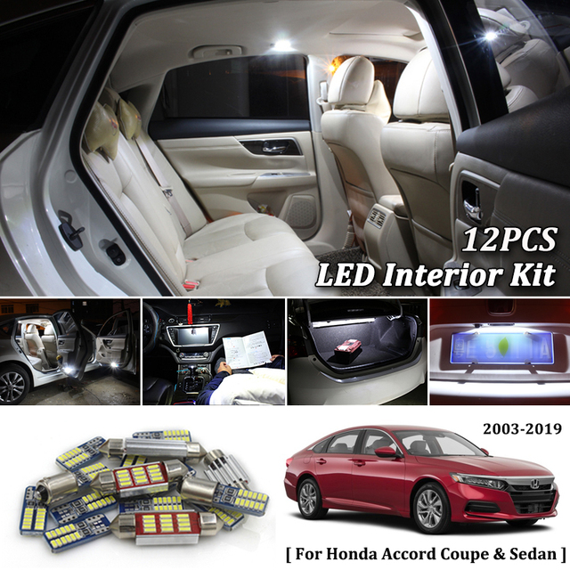 12pcs White Canbus Led Car Interior Lights Package Kit For 2017 2018 2019 Honda Accord
