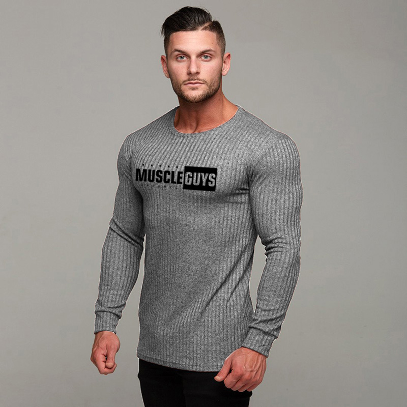 Muscleguys Brand Autumn Sweater Mens Fashion Casual Male Sweater O-Neck Slim Fit Knitting Men Sweaters Pullovers