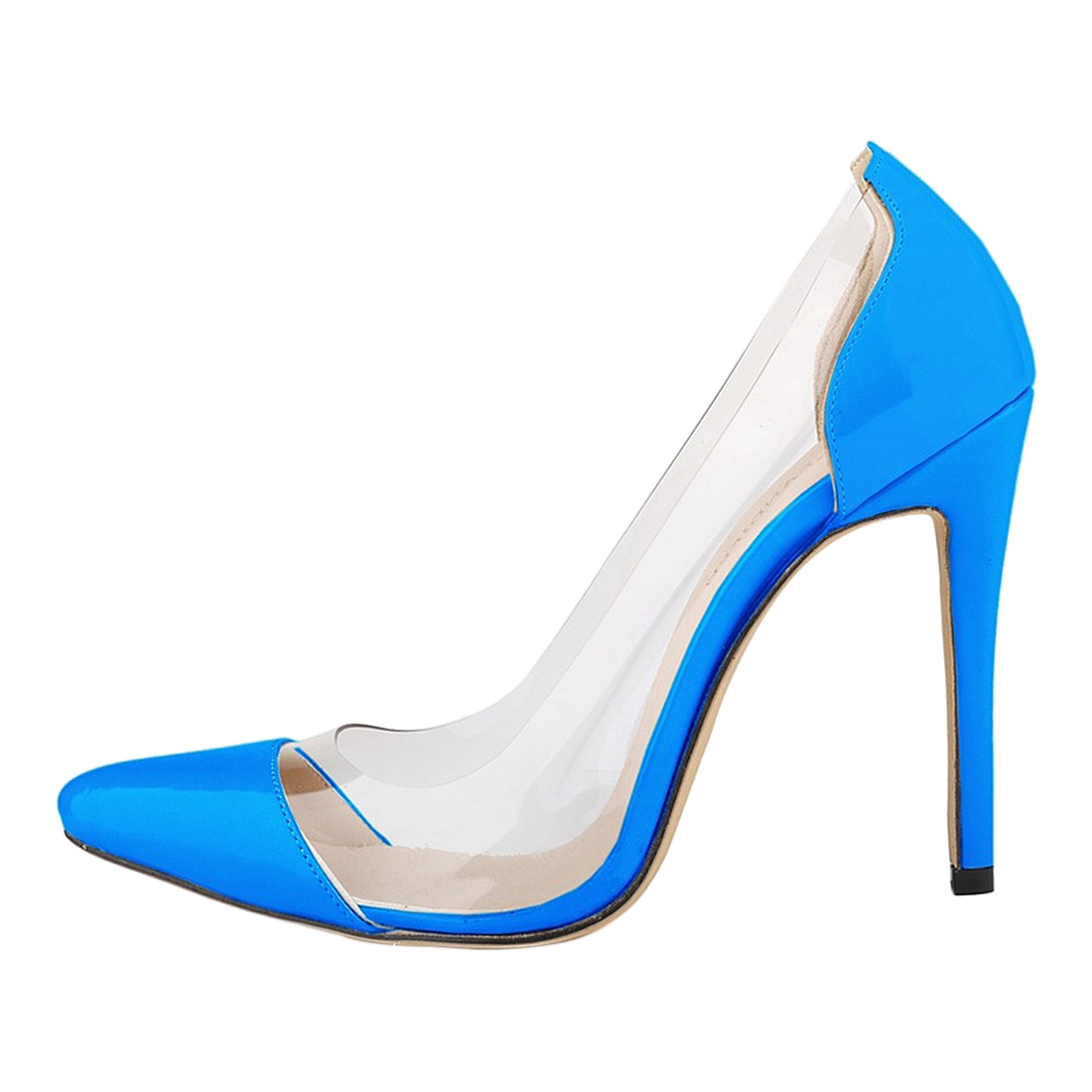 LOSLANDIFEN women new high-heeled shoes high quality handmade sandals / leather shoes Sky blue the new type of diamond mother sandals lady leather fish mouth flowers with leather high heeled shoes slippers women shoes