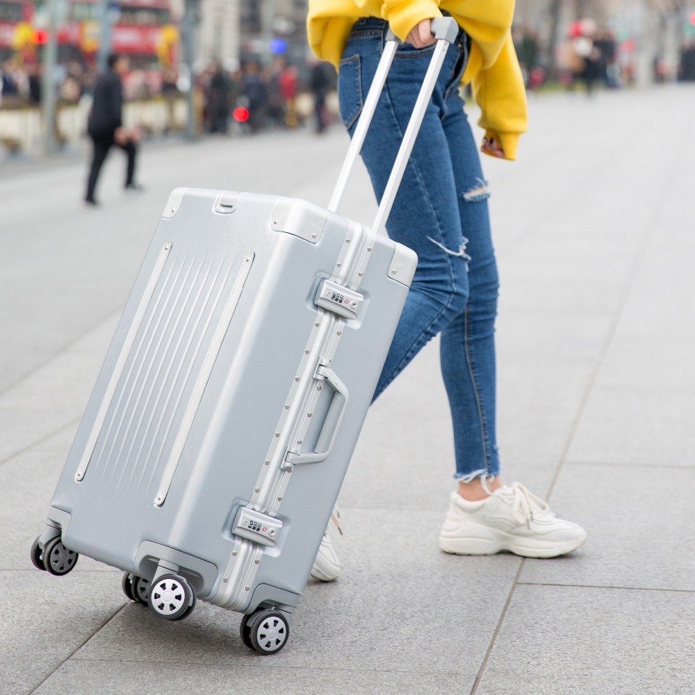 QiangHao 20 24 26 29 inch Aluminum Frame Travel Suitcase With Wheels TSA Lock Trolley Case