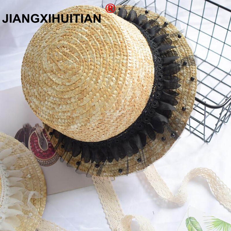 912bd411184 Detail Feedback Questions about 2018 New Fashion child sun hat Cute girls sun  hats bow hand made women straw cap beach big brim hat casual lace summer  cap ...