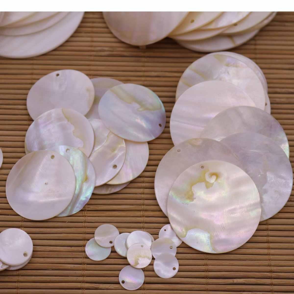 10 PCS Disco Rotondo Naturale Beige Bianco Madre di Perla Borsette 1 cm-6 centimetri di Scegliere
