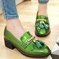Aiweiyi 2017 red mulheres bombas plataforma dedo do pé redondo salto baixo quadrado Bow Tie Tassel PU bolsa de couro de Patente Das Senhoras Sapatos de Casamento Tamanho 34-48