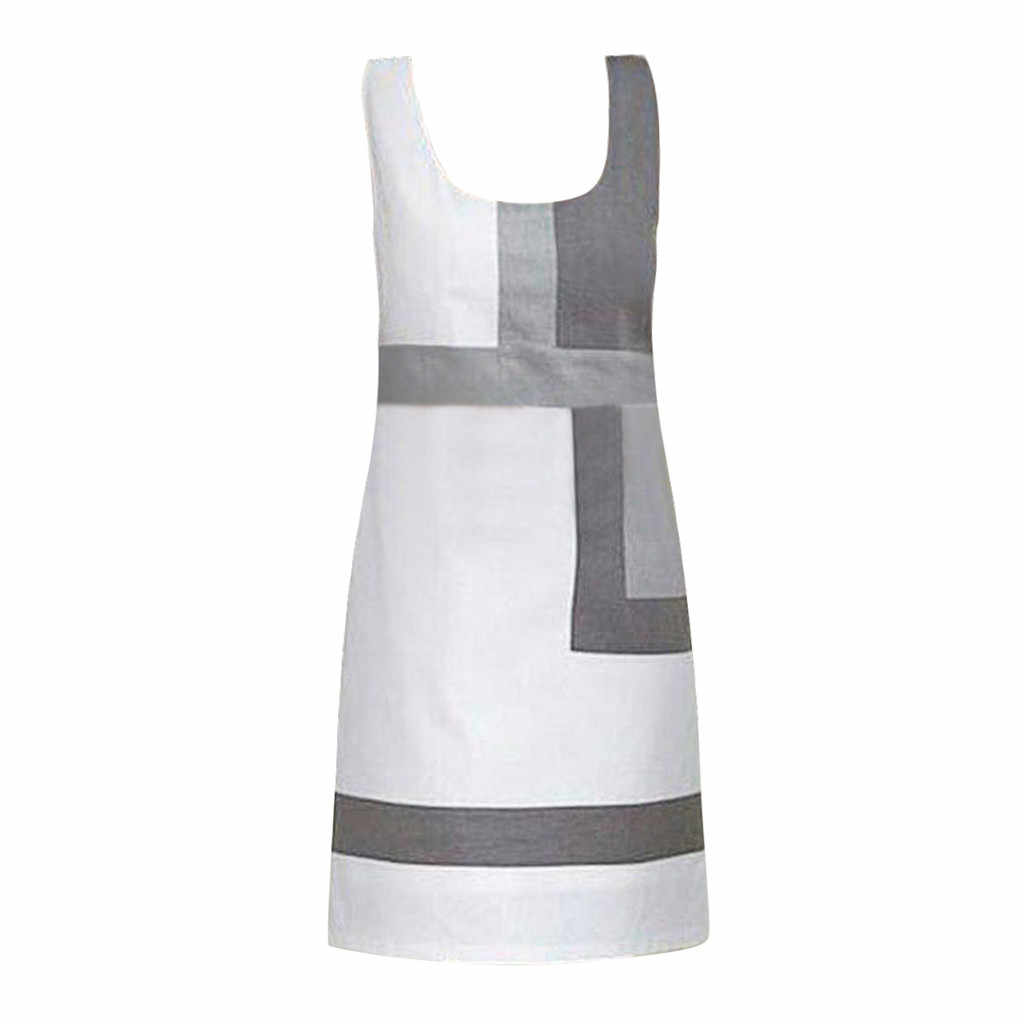 Feminino o pescoço sem mangas impressão geométrica cloose verão mini vestido casual elegante praia festa vestidos de escritório strand jurkjes # a