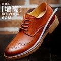 Hombres Brogue Zapatos Elegantes de Cuero Genuino Aumento de la Altura Zapatos Ascensor
