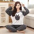 2015 otoño más el tamaño mujeres Pijama Anime Tonari no Totoro pijamas manga larga Harajuku Homewear 2 en 1 Top + Pants