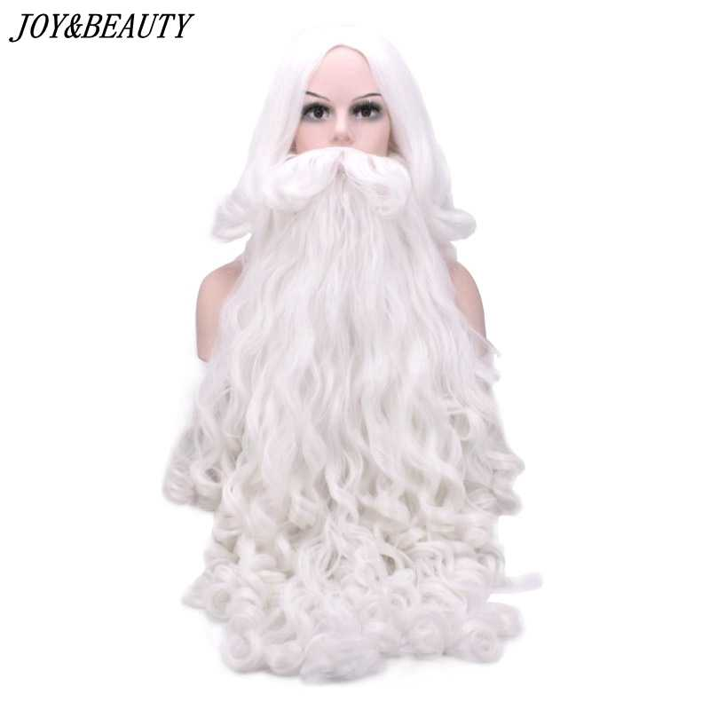 JOY & BEAUTY Santa Claus peluca larga ondulada blanco Santa Claus barba set fantasía alta temperatura fibra Cosplay peluca